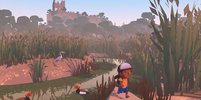 A screenshot of the video game Alba: A Wildlife Adventure, showing the main character walking outdoors in a nature setting.