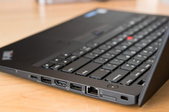 A closeup on the aforementioned ports on the right side of the laptop.