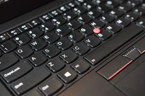 A closeup on the T470s's keyboard.