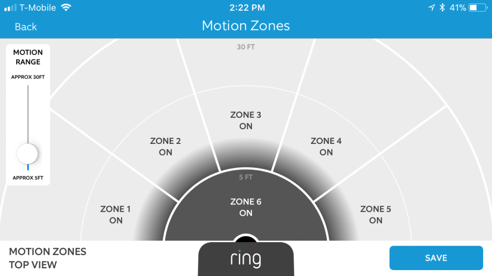medium resolution of a screenshot of the motion zones screen in the ring video doorbell 2 app the