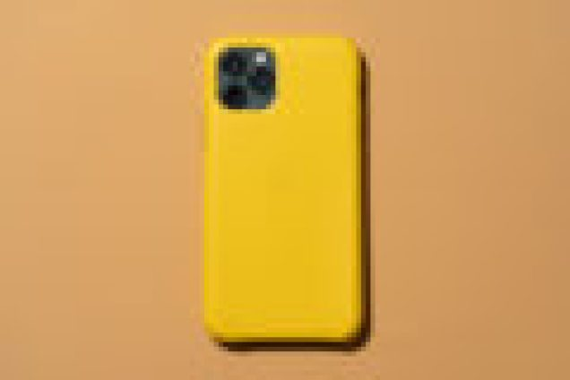 Apple's leather iPhone 11 case shown in yellow.