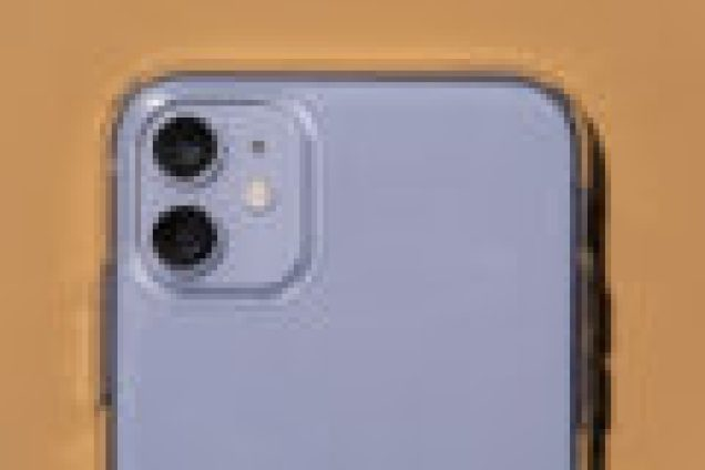 The camera of an iPhone 11 using the Liquid Crystal case.