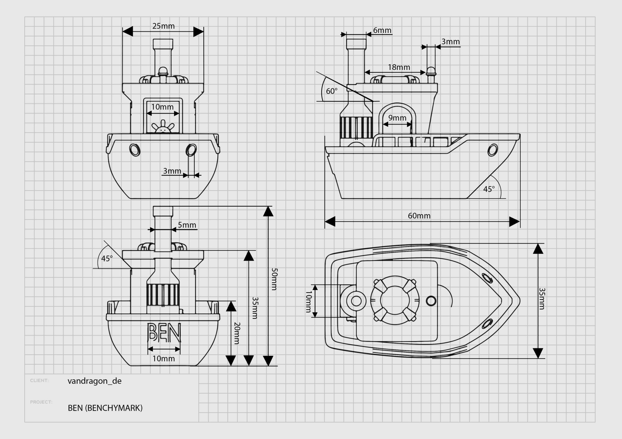 hight resolution of  to try to draw a small floating benchmark boat of course it s not seaworthy i also wanted to stay very close to the printing time of the original