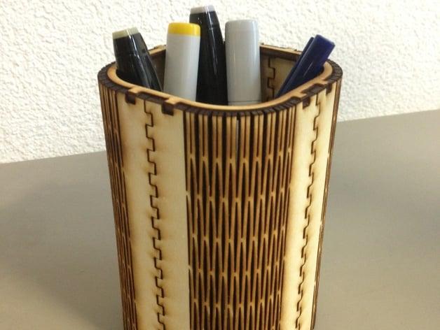 FlexiRoast Wooden Pen Stand by fablabzurich  Thingiverse