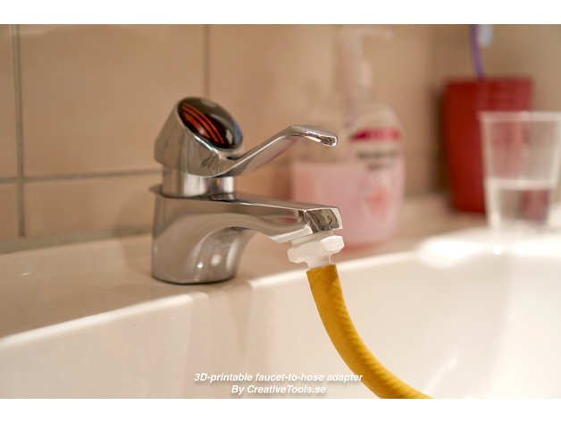 3d printable faucet to hose adapter by