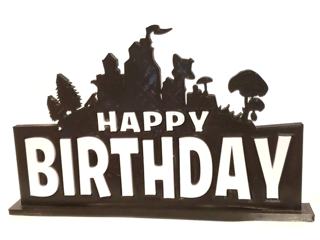 2 Color Fortnite Themed Happy Birthday Cake Topper Or