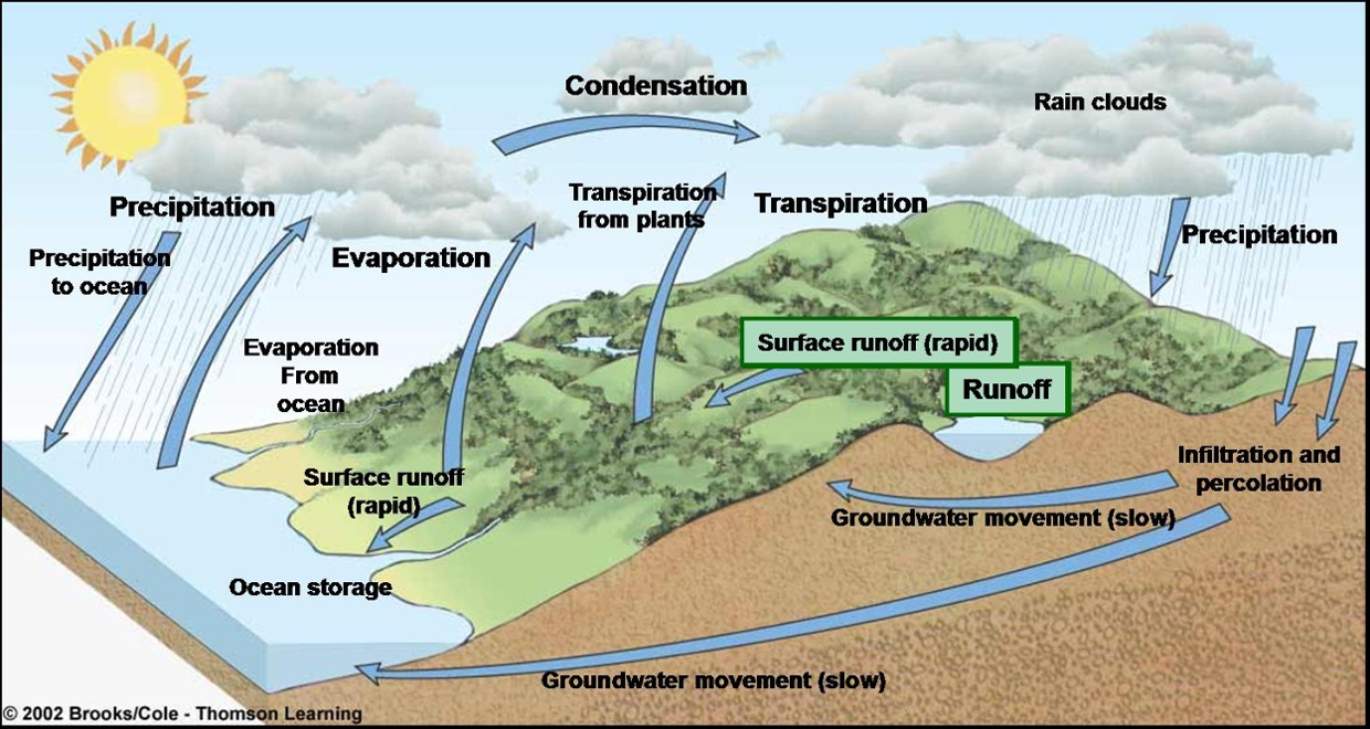 hight resolution of water cycle diagram percolation
