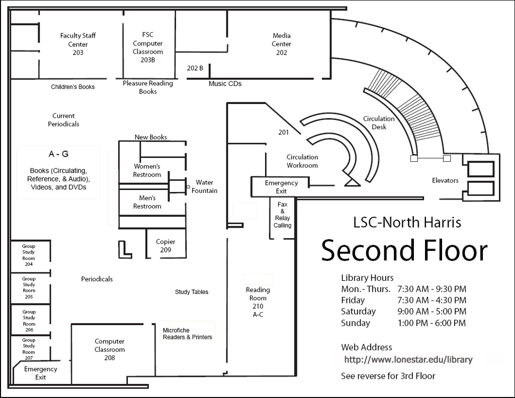 LSC-North Harris Library, Second Floor Map