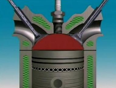 Hemispherical combustion chamber
