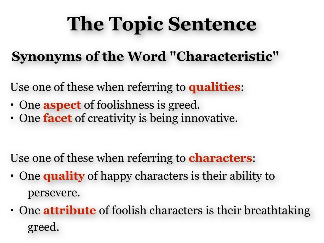 Definition Topic Sentence Synonyms