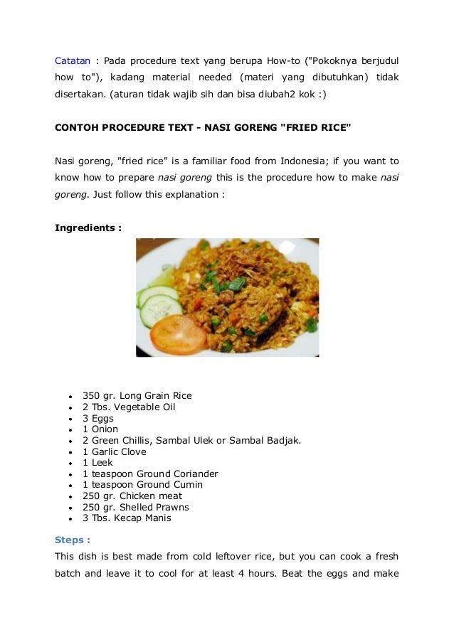 Contoh Procedure Text Makanan : contoh, procedure, makanan, Procedure, Fried