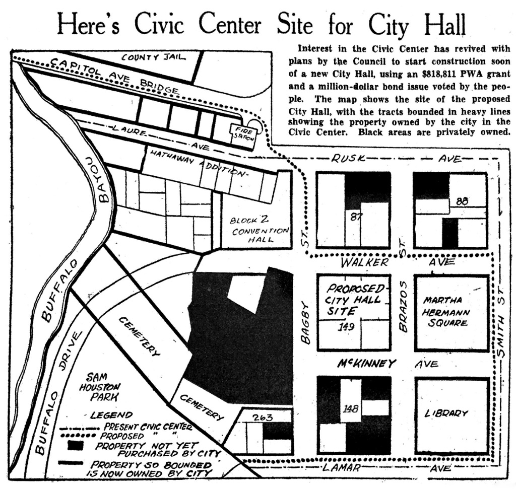1937 map shows what was Houston's Civic Center