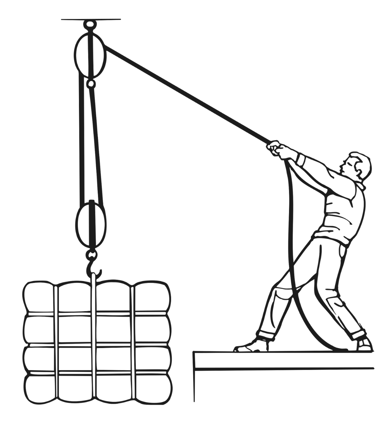 A pulley is a simple machine made up of a wheel and rope