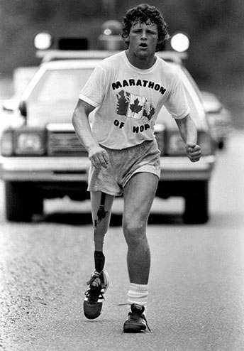 This is Terry Fox the handicapped marathon runner