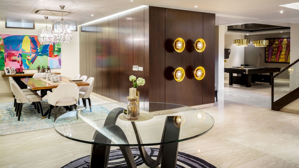 The light fixtures at the entrance—sourced from Ivanka Lu...