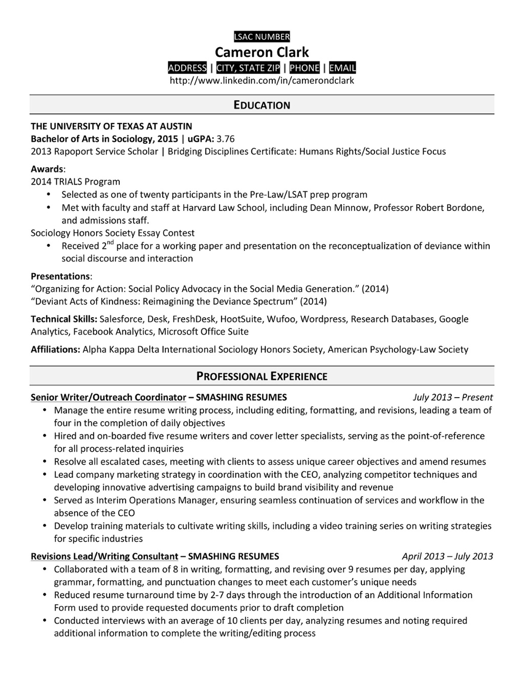 law school grad resume sample
