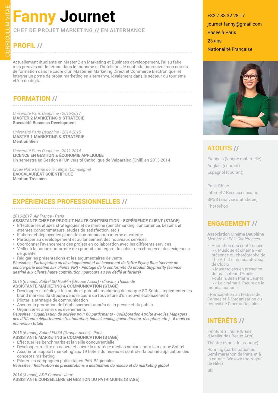 modele cv etudiant formation alternance business
