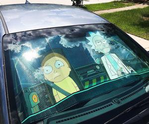 Rick And Morty Windshield Sunshade
