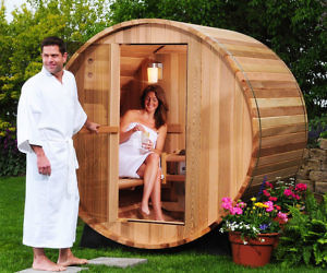 Two Person Canopy Barrel Sauna