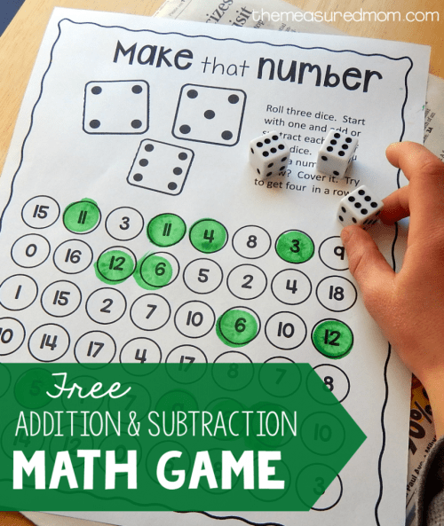 small resolution of Addition and Subtraction Games - Roll and Race - This Reading Mama