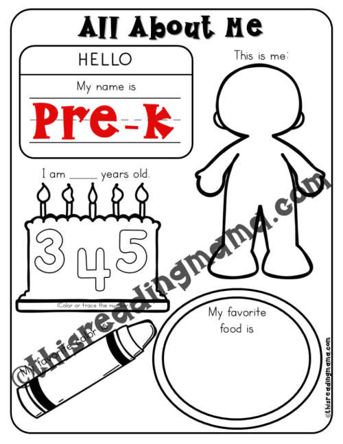 small resolution of All About Me Pages for Preschool - 5th Grade - This Reading Mama