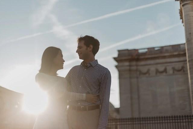 Couple photography Paris August Sunrise