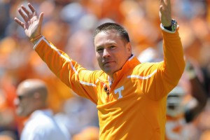 Tennessee Volunteers head coach Butch Jones during the first half of the spring Orange and White game at Neyland Stadium. Mandatory Credit: Randy Sartin-USA TODAY Sports