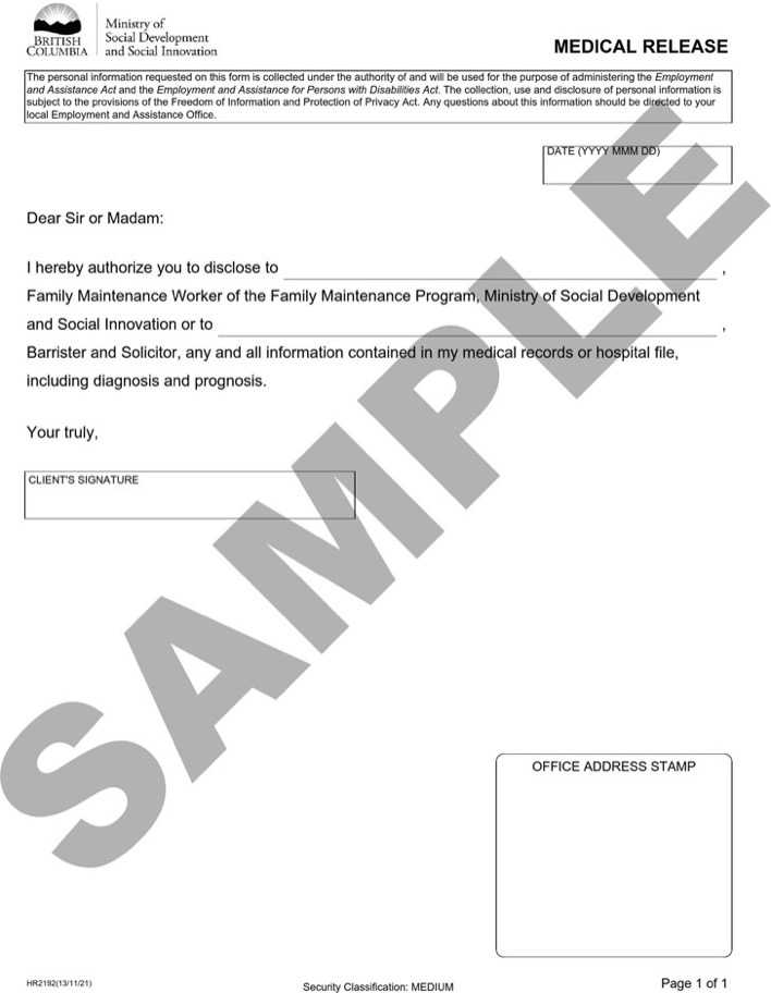 Download British Columbia Medical Release Sample for Free