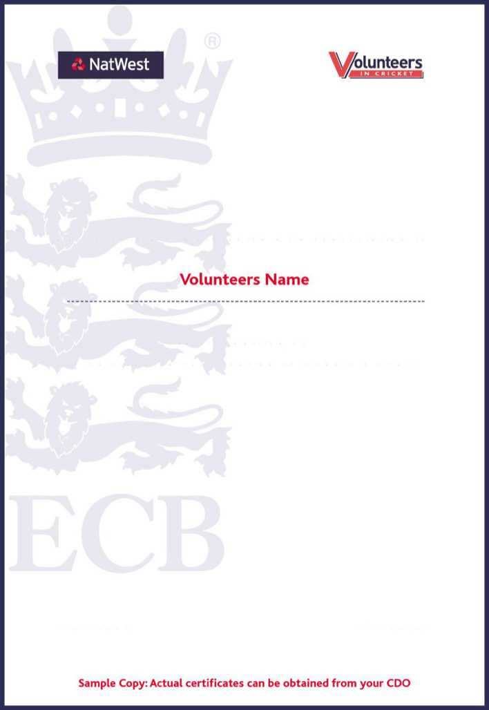 Download Cricket Volunteer Certificate Template for Free