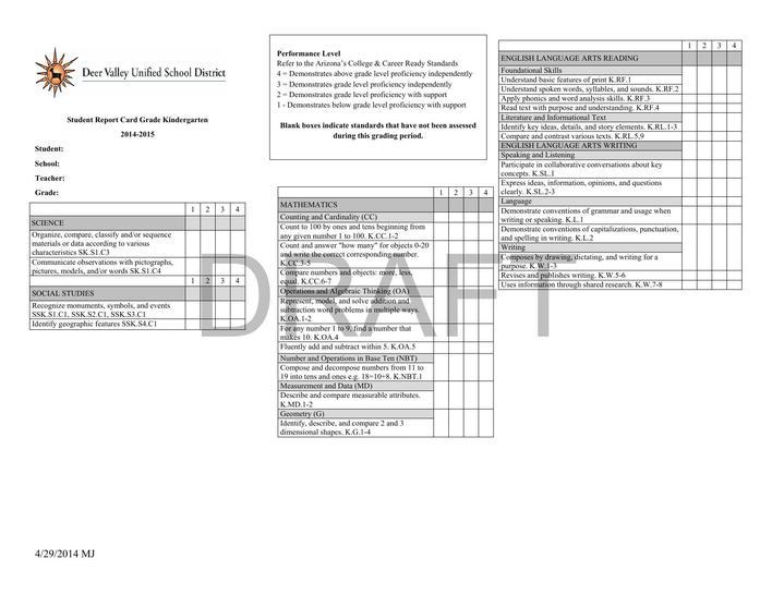 Download Grade K Report Card Template Final Draft PDF