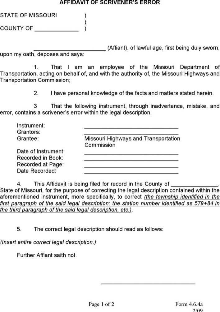 Download Scrivener's Error Affidavit For Free Page 2