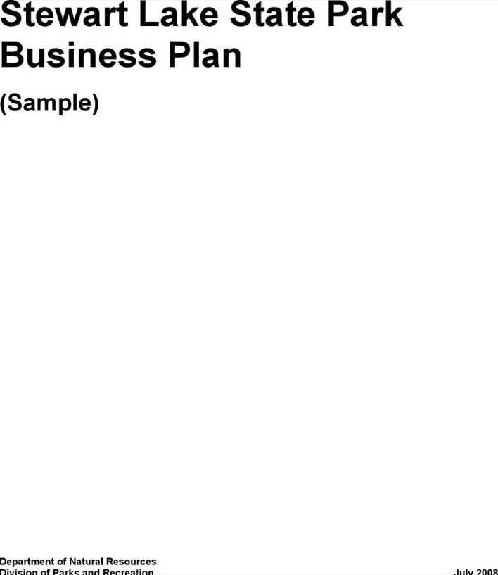 Download Stewart Lake State Park Business Plan (Sample