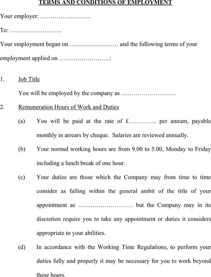 Download Terms And Conditions of Employment Template for