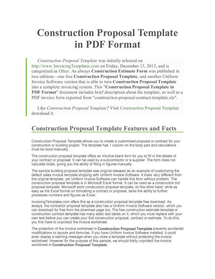 Construction Proposal Template Towelbars Us