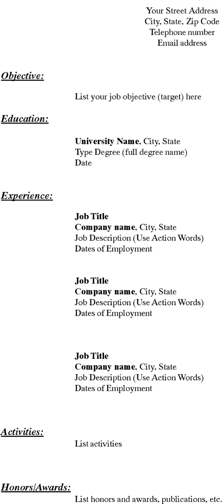 Download Blank Resume Templates for Free  TidyTemplates