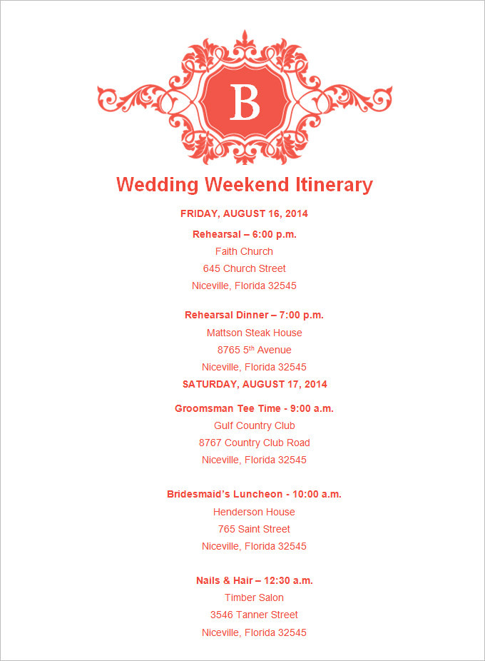 Download Sample Wedding Weekend Itinerary Templates To