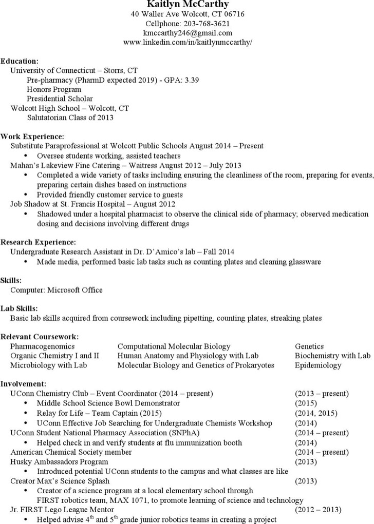 Download Retail Pharmacist Resume For Free