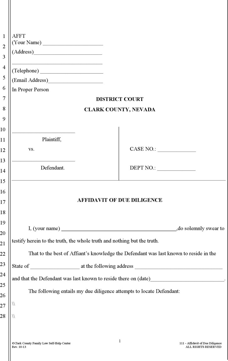 Download Nevada Affidavit Form for Free