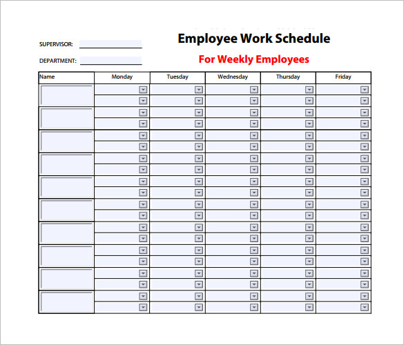 3+ Weekly Work Schedule Templates Free Download