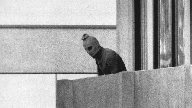 An Arab terrorist, part of the commando group which seized members of the Israeli Olympic team at their quarters during the 1972 Munich Olympics (photo credit: Kurt Strumpf, File/AP)