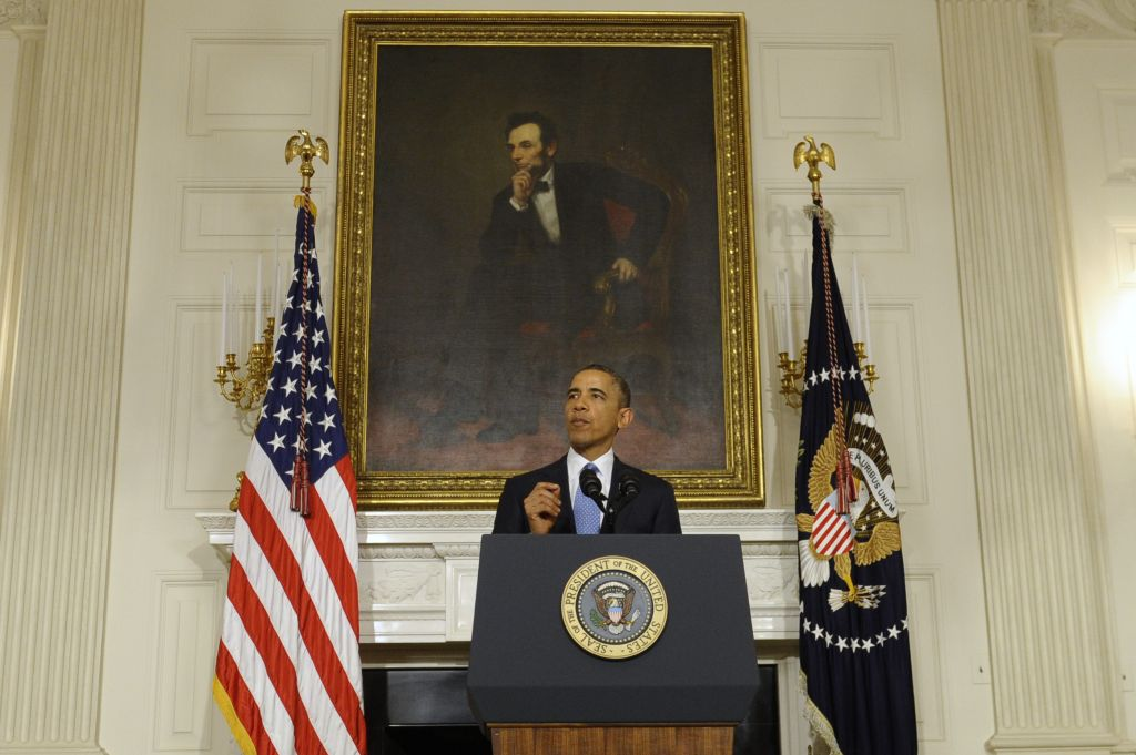 US President Barack Obama speaks in the State Dining Room at the White House Saturday November 23, 2013, in Washington about the nuclear deal between six world powers and Iran (photo credit: AP/Susan Walsh)