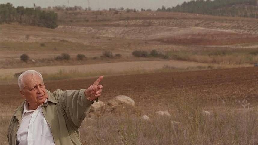 Ariel Sharon in 2002 revisits the scene of the 1948 Latrun battle. (Photo credit: Avi Ohayon, GPO)