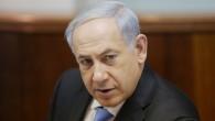 Le Premier ministre israélien Benjamin Netanyahu au conseil des ministres hebdomadaire (Crédit : Alex Kolomoisky/POOL/Flash 90)