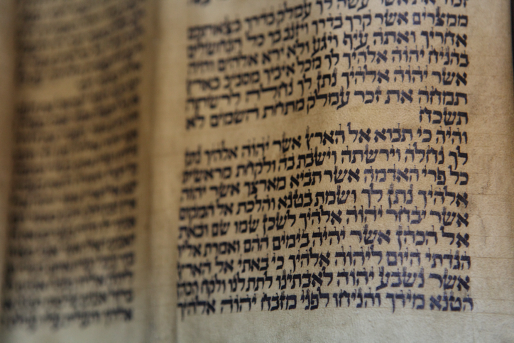 Illustration of Torah scroll text October 18, 2009.  (photo credit: Yaakov Naumi/Flash90)