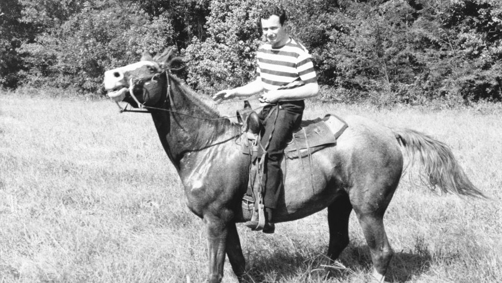 Brian Epstein horsing around at his 30th birthday party. (Ron Joy-Belle Schwartz Estate/JTA)