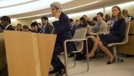 Le secrétaire américain John Kerry écoutant un discours au Conseil des droits de l'Homme des Nations unies le 2 mars 2015 (Crédit : AFP PHOTO / POOL / EVAN VUCCI)