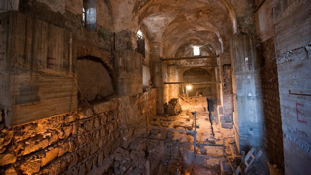 A room beneath a former Ottoman prison, known as the Kishle, in Jerusalem's Old City, where layers of ancient history were uncovered. (photo credit: JTA/Hamutal Wachtel)