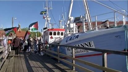 La Marianne de Göteborg, un chalutier battant pavillon suédois menant une flottille de bateaux en partance pour la bande de Gaza, Juin 2015. (YouTube / Ship to Gaza Suède)