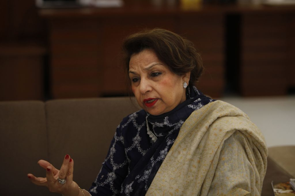 In this photo taken on Jan. 27, 2016, Pakistani lawmaker Mahtab Akbar Rashdi talks to the Associated Press in Karachi, Pakistan. Rashdi said the federal government by refusing to ban underage marriages is pandering to those who adhere to a narrow and restrictive interpretation of Islam and mostly target women. (AP Photo/Shakil Adil)