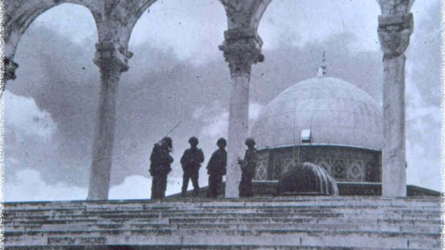 Israeli soldiers guard the Dome of the Rock, the site of the Temple's Holy of Holies, following the Six Day War. (The Temple Institute)
